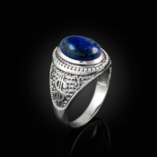 Sterling Silver Cash Money Dollar Sign Lapis Lazuli Statement Ring