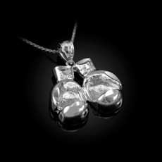 Sterling Silver Boxing Gloves DC Pendant Necklace