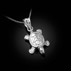 Sterling Silver Hawaiian Honu Sea Turtle Charm Necklace
