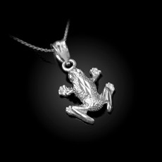 Sterling Silver Textured DC Frog Charm Necklace