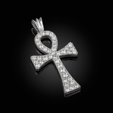 Iced Sterling Silver Egyptian Ankh Cross CZ Pendant