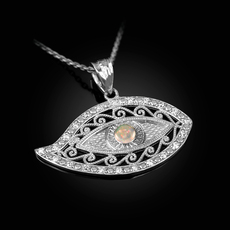 Sterling Silver Evil Eye CZ White Opal Filigree Pendant Necklace