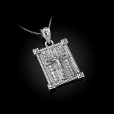 Sterling Silver Boxed Cross CZ Pendant Necklace