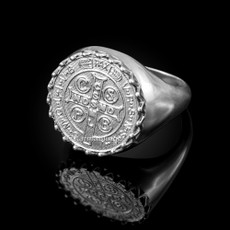 Solid Sterling Silver Saint Benedict Medal Mens Ring