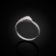 Sterling Silver Ouroboros Tail Biting Snake Ruby Ring
