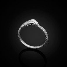 Sterling Silver Ouroboros Tail Biting Snake Black Diamond Ring