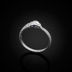 Sterling Silver Ouroboros Tail Biting Snake Blue Sapphire Ring