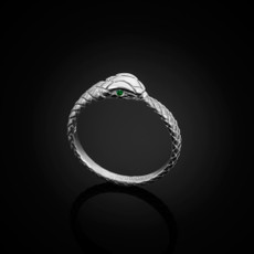 Sterling Silver Ouroboros Tail Biting Snake Emerald Ring