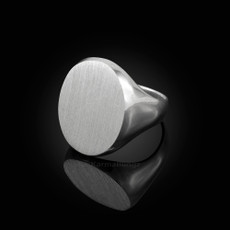 Sterling Silver Mens Large Oval Signet Ring