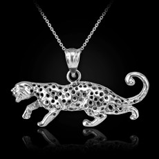 Sterling Silver Cheetah Cat Pendant Necklace
