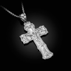 "SAVE AND PROTECT ""СПАСИ И СОХРАНИ"" Silver Russian Cross Pendant Necklace"
