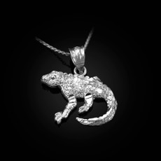 Sterling Silver Salamander Lizard DC Pendant Necklace