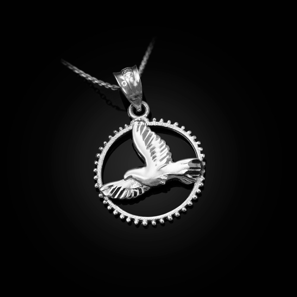 """24/"""" Chain Sterling Silver Cross with Flying Dove Pendant Necklace Diamond-Cuts"""