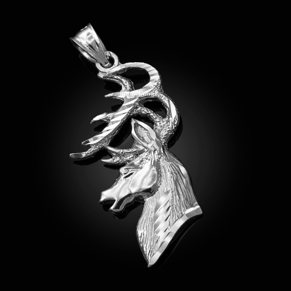 Sterling Silver Reindeer Pendant 1 inch Tall