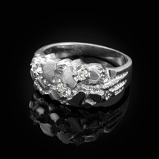 Sterling Silver Elegant CZ Nugget Ring
