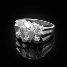 Mens Sterling Silver CZ Nugget Ring