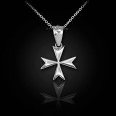 Sterling Silver Tiny Maltese Cross Charm Necklace