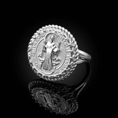 Sterling Silver Saint Benedict Medal Womens Ring