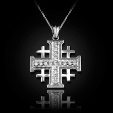 Sterling Silver Jerusalem Cross CZ Pendant Necklace