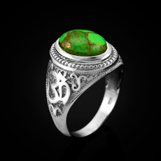 Sterling Silver Om (Aum) Green Copper Turquoise Oval Yoga Ring
