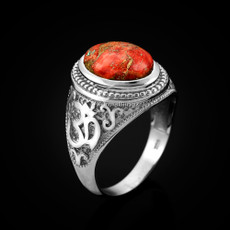 Sterling Silver Om (Aum) Orange Copper Turquoise Oval Yoga Ring