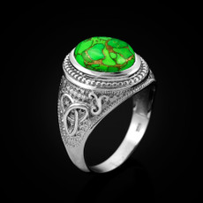 Sterling Silver Celtic Band Green Copper Turquoise Statement Ring