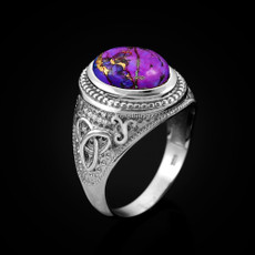 Sterling Silver Celtic Band Purple Copper Turquoise Statement Ring