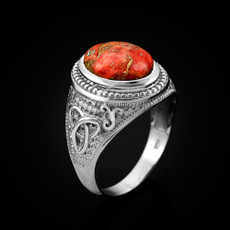 Sterling Silver Celtic Band Orange Copper Turquoise Statement Ring