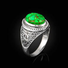 Sterling Silver Money Dollar Sign Green Copper Turquoise Ring