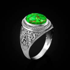 Sterling Silver Masonic Ring with Green Copper Turquoise