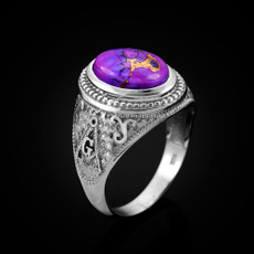Sterling Silver Masonic Ring with Purple Copper Turquoise