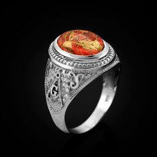 Sterling Silver Masonic Ring with Orange Copper Turquoise