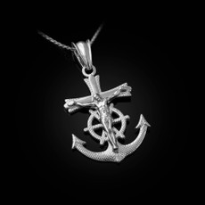 Sterling Silver Mariner Crucifix Cross Pendant Necklace