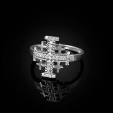 Sterling Silver Jerusalem Cross Clear CZ Ring
