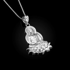 Sterling Silver Lotus Buddha Yoga Pendant Necklace