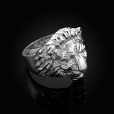 Solid Sterling Silver Lion Head Mens Ring