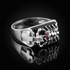 Sterling Silver Black Onyx Scorpion Ring With CZ
