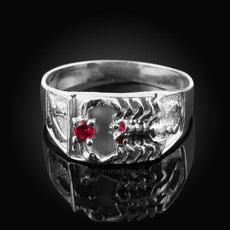 Sterling Silver Red CZ Scorpion Ring