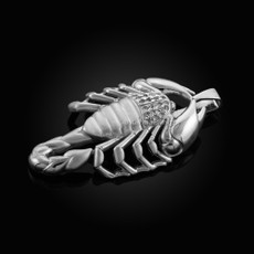 Sterling Silver Mens Scorpion CZ Pendant