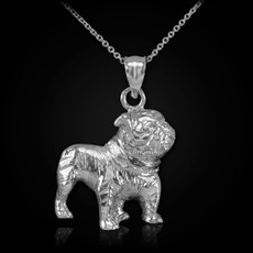 Sterling Silver Bulldog Charm Pendant Necklace