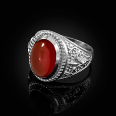 Sterling Silver Red Onyx Fleur-De-Lis Gemstone Ring
