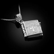 Sterling Silver Holy Bible 3D Book Pendant Necklace