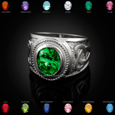 Sterling Silver Celtic Trinity Oval CZ Birthstone Ring