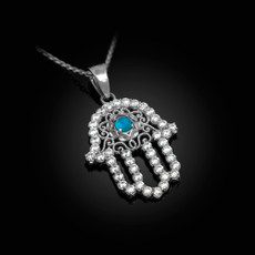 Sterling Silver Filigree Hamsa Turquoise CZ Charm Necklace