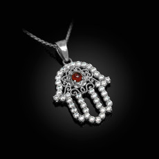 Sterling Silver Filigree Hamsa Genuine Garnet CZ Charm Necklace