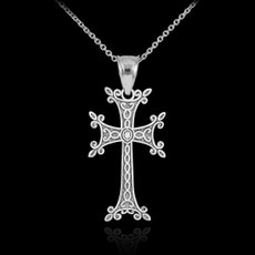 Sterling Silver Armenian Cross Charm Pendant Necklace