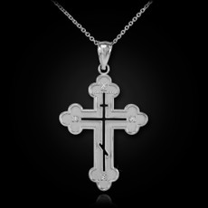 Sterling Silver Eastern Orthodox CZ Cross Pendant Necklace