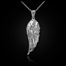 Sterling Silver Angel Wing DC Pendant Necklace