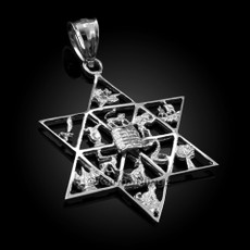 Sterling Silver Star of David 12 Twelve Tribes of Israel Pendant