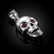 Polished Silver Skull Red CZ Pendant